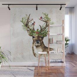 Rustic Christmas Deer Wall Mural
