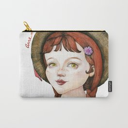 Anne Shirley with Flower Bouquet Watercolor Portrait Illustration Carry-All Pouch