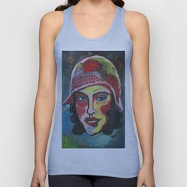Woman with hat Unisex Tank Top