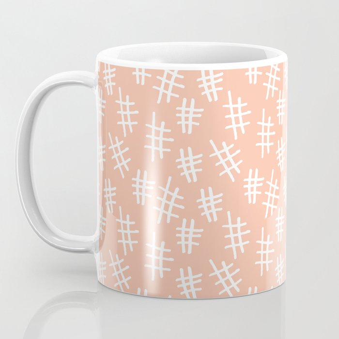 Peach Cross Hatch Coffee Mug