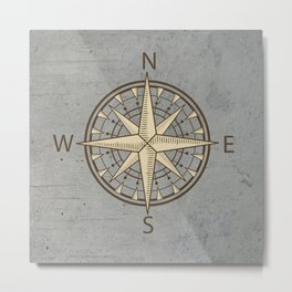 compass on cement background Metal Print