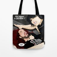 dramatical murder Tote Bags featuring MURDER STORIES by Thomas B.- Rock Artwork