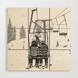 Snow Lift // Ski Chair Lift Colorado Mountains Black and White Snowboarding Vibes Photography Wood Wall Art