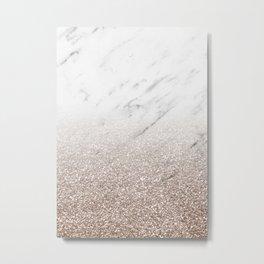 Glitter ombre - white marble & rose gold glitter Metal Print