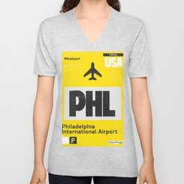 PHL Philadelphia airport code yellow Unisex V-Neck