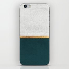Deep Green, Gold and White Color Block iPhone Skin