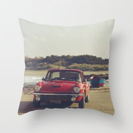 Triumph Spitfire by the sea, with ship, fine art photo, british car, sports car, color, high definit Throw Pillow