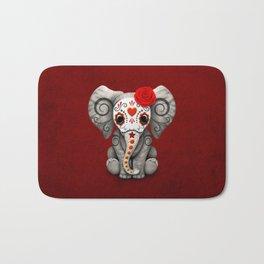 Deep Red Day of the Dead Sugar Skull Baby Elephant Bath Mat
