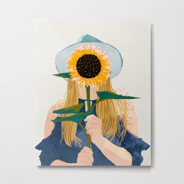 Miss Sunflower || Metal Print