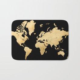 Sleek black and gold world map Bath Mat