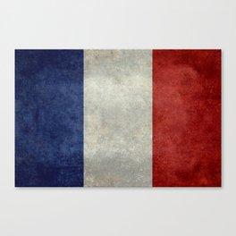 Flag of France, vintage retro style Canvas Print
