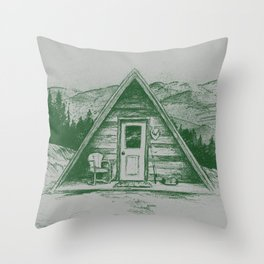 Tiny Cabin on the Mountain Throw Pillow