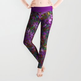 Floral Abstract Stained Glass G175 Leggings