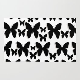 Butterfly Black and White Pattern Rug