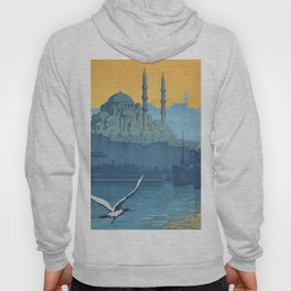 Mid Century Modern Travel Vintage Poster Istanbul Turkey Grand Mosque Hoody