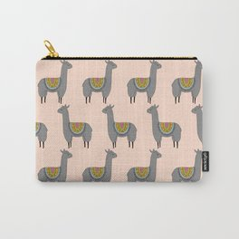 Llama Momma on Peach Carry-All Pouch