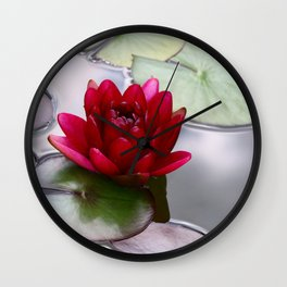 Dark Red Water Lily Wall Clock