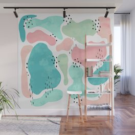 Modern abstract pastel turquoise pink geometric black dots Wall Mural
