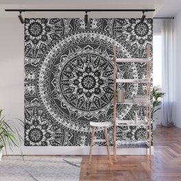 Black and White Mandala Pattern Wall Mural