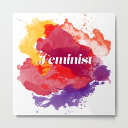 Feminism Watercolor Metal Print