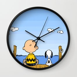 Charlie Brown Snoopy On Dock Wall Clock