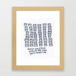 Letter lives Framed Art Print