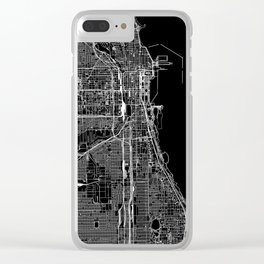Chicago Black Map Clear iPhone Case