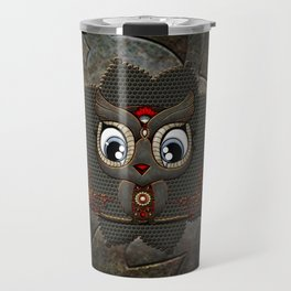 Cute little steampunk owl with floral elements Travel Mug