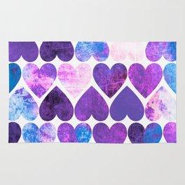 Mod Purple & Blue Grungy Hearts Design Rug