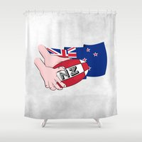 rugby Shower Curtains featuring Rugby Ball New Zealand by mailboxdisco