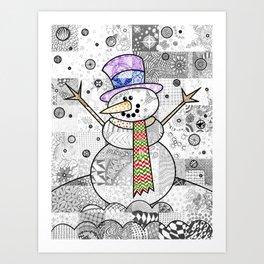 Coloured Snowman Art Print