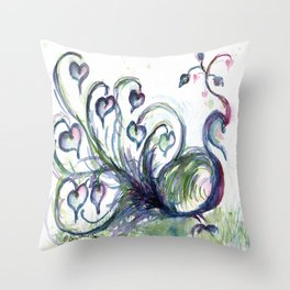 Peacock Pink Hearts watercolour by CheyAnne Sexton Throw Pillow