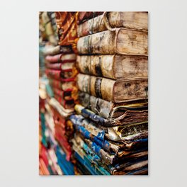 Stacks and stacks of books, Venice Italy Canvas Print