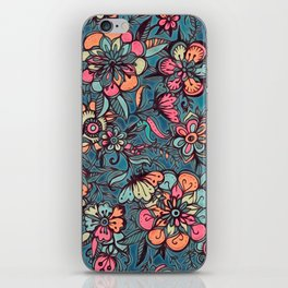 Sweet Spring Floral - melon pink, butterscotch & teal iPhone Skin