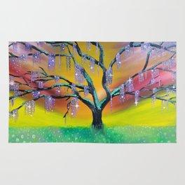 Entanglement, colorful tree landscape, beautiful landscape, cypress tree Rug