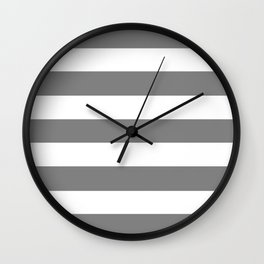 Gray (HTML/CSS gray) -  solid color - white stripes pattern Wall Clock