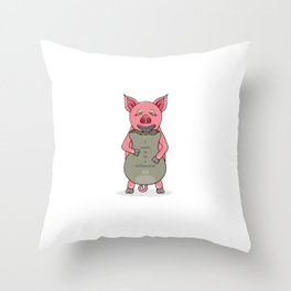 pig and bag with gold coins Throw Pillow