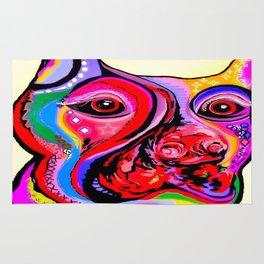 Doberman Pinscher Close Up Bright Colors Rug