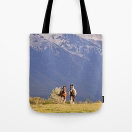 Paint Horses and Western Landscape Photograph Tote Bag