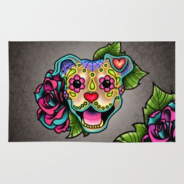 Smiling Pit Bull in Fawn - Day of the Dead Pitbull Sugar Skull Rug