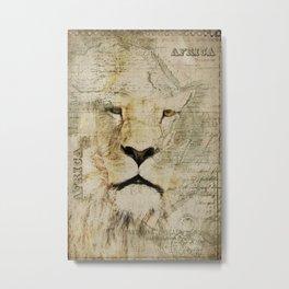 Lion Vintage Africa old Map illustration Metal Print
