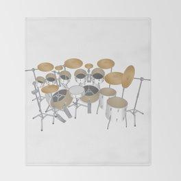 White Drum Kit Throw Blanket