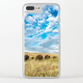 Grazing - Bison Graze Under Big Sky on Oklahoma Prairie Clear iPhone Case