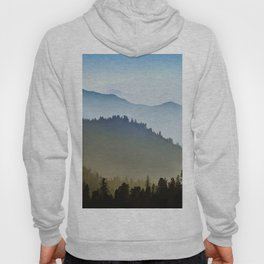 Mountain Foggy hills rainy day with pines trees forest landscape photography blue and green Hoody
