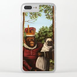 Monkey Queen with Pug Baby Clear iPhone Case