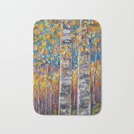 Colourful Autumn Aspen Trees Bath Mat
