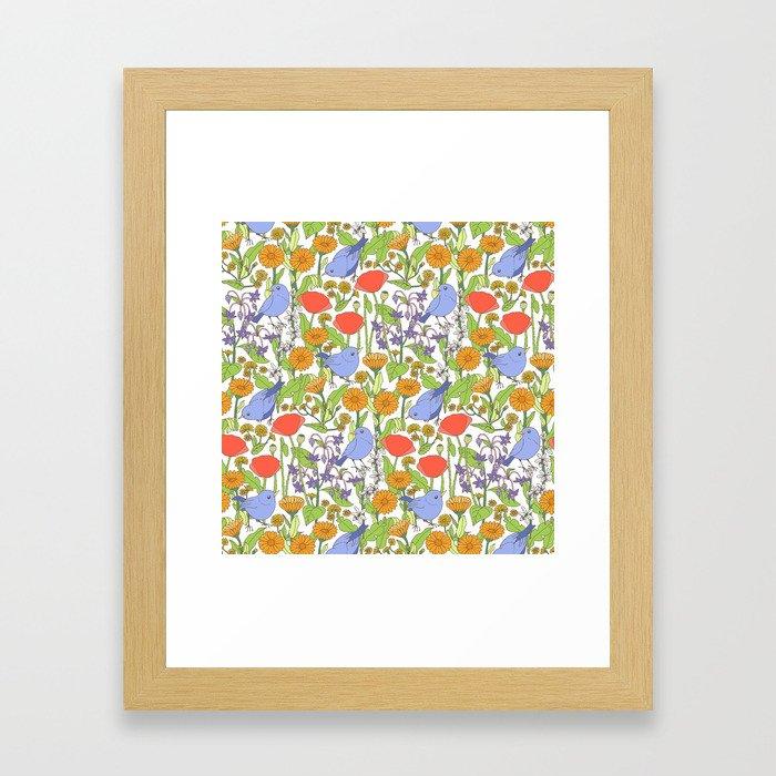 Birds and Wild Blooms Gerahmter Kunstdruck