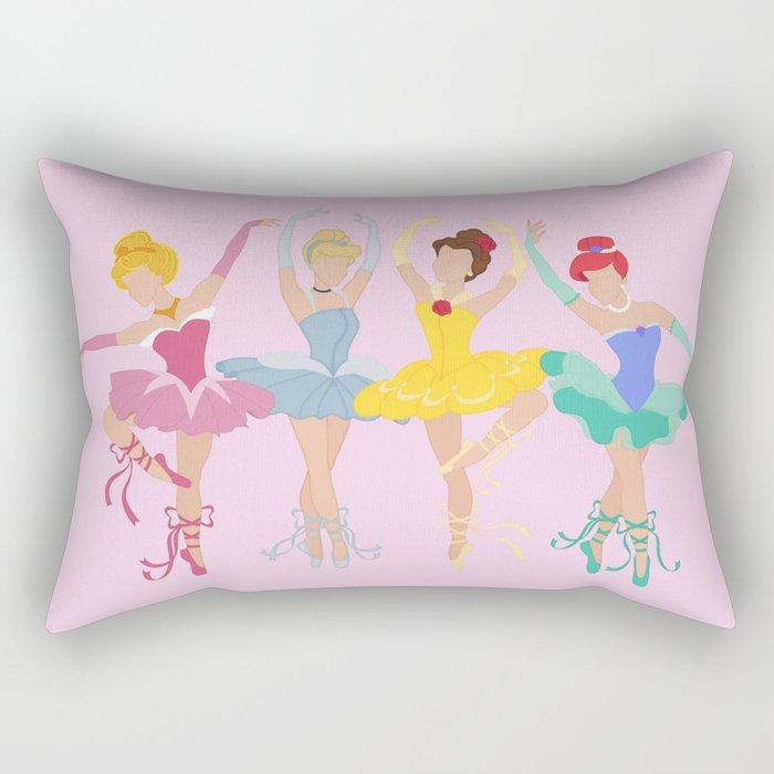 Ballerina Princesses: The Fab Four in Pink Rectangular Pillow
