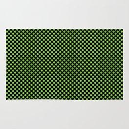 Black and Jasmine Green Polka Dots Rug