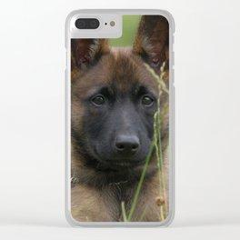 Cute Puppy Shepherd Face Clear iPhone Case